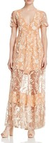 For Love & Lemons Mia Embroidered Maxi Dress