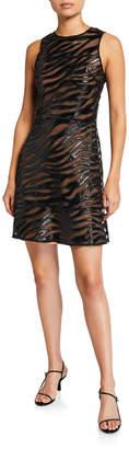 MICHAEL Michael Kors Bengal Faux Leather Sleeveless Mini Dress