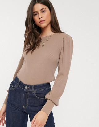 Vila knitted top with balloon sleeves in taupe