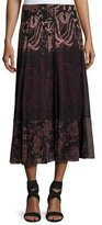 Fuzzi Floral Lace-Print Midi Skirt, Black/Pink