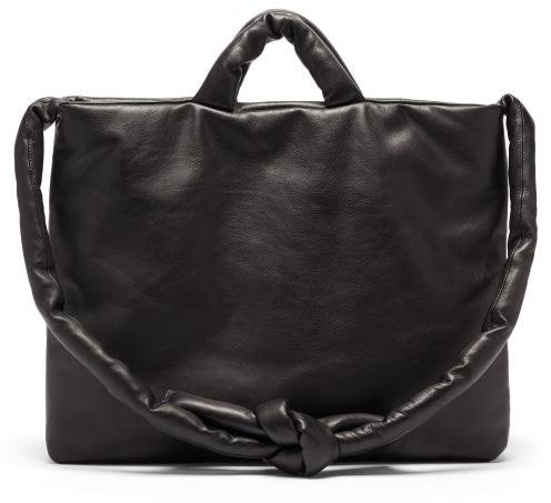 Kassl Editions Messenger Padded Leather Tote Bag - Black