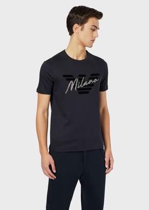 Emporio Armani Interlock Jersey T-Shirt With Logo And Rhinestone City