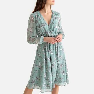 La Redoute Collections Floral Print Wrapover Midi Dress