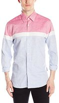 Stone Rose Men's Color Blocked Stripe Long Sleeve Button Down Shirt
