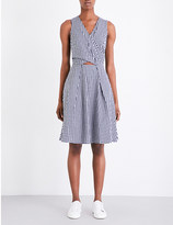 Mo&Co. Gingham-print cotton-blend dress
