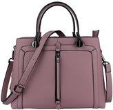 MuLier Women Genuine Leather Handbag Front Zipper Pocket Double Top Handle Totes Bag