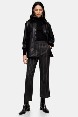 Topshop Womens Grey Pinstripe Kick Flare Trousers - Grey