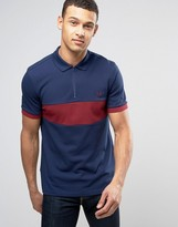 Fred Perry Slim Pique Polo Chest Panel Zip Detail In Navy