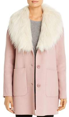 Laundry by Shelli Segal Hooded Faux Fur-Trim Coat