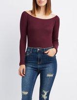 Charlotte Russe Waffle Knit Off-The-Shoulder Bodysuit