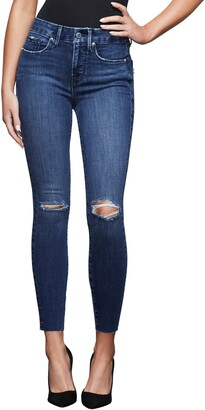 Good American Good Legs High Waist Raw Edge Ankle Skinny Jeans
