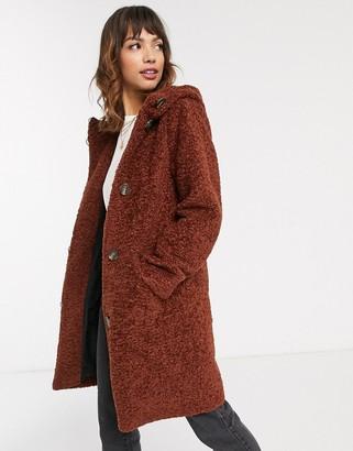 Esprit faux fur duffle coat in brown-Blue