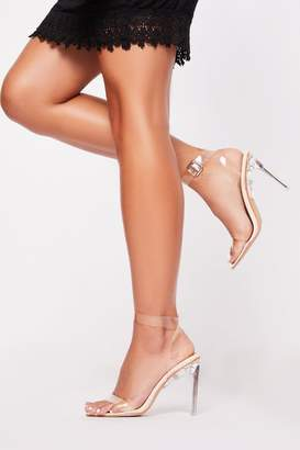 boohoo Clear strappy flat heel sandals