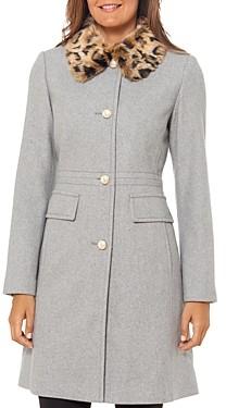 Kate Spade Cheetah Print Faux Fur Collar Coat