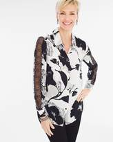 Chico's Modern Flower Lace-Sleeve Shirt