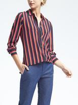 Banana Republic Easy Care Dillon-Fit Stripe Ruffle-Cuff Shirt