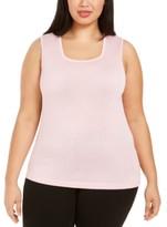 Kasper Plus Size Square-Neck Sweater Top