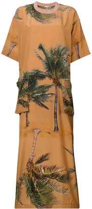 Natasha Zinko Palm Tree Print Maxi Dress