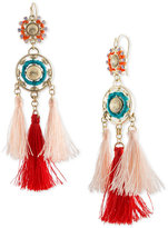 Rachel Roy Gold-Tone Double Circle & Multi-Tassel Chandelier Earrings