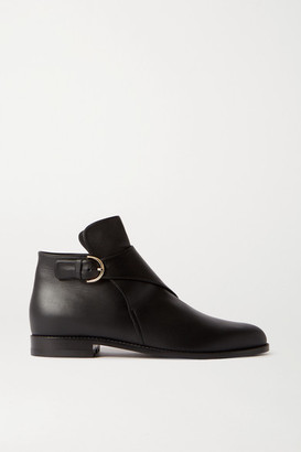 Co Buckled Leather Ankle Boots - Black