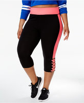 Material Girl Active Plus Size Colorblocked Lace-Up Cropped Leggings, Only at Macy's