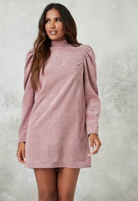 Missguided Blush High Neck Cord Shift Dress