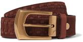 Brunello Cucinelli 4cm Brown Leather-trimmed Suede Belt - Chocolate