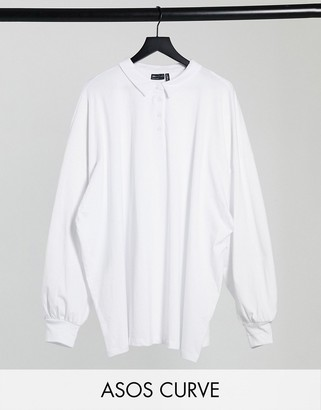 ASOS DESIGN Curve polo top with long sleeves in white