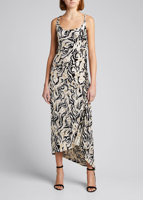 Paco Rabanne Abstract-Print Sleeveless Midi Dress