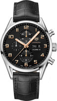 Tag Heuer CV2A1ABFC6379 Carrera stainless steel and leather chronograph watch