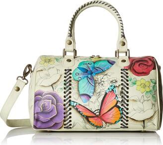 Anna by Anuschka Women's Genuine Leather All Round Zip Satchel | Hand Painted Original Artwork | Medium Zip-Top Organizer | Floral Paradise