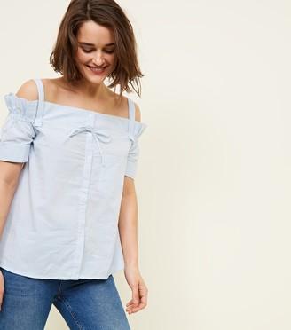 New Look Mela Stripe Bow Cold Shoulder Shirt