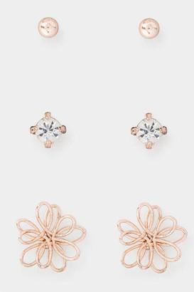 francesca's Tilly Flower Stud Set - Rose/Gold