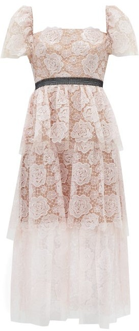 Self-Portrait Square-neck Tiered Floral-lace Midi Dress - Light Pink