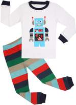 BOOPH Boys Pajamas 2 Piece Robot Long Sleeve Pajama Set 100% Cotton sleepwear-7T (, white)