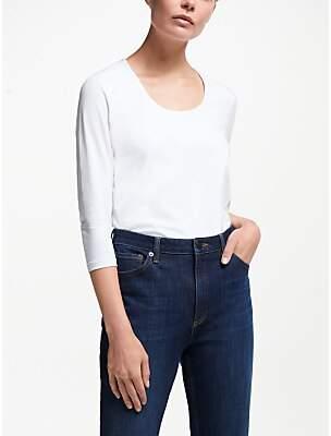 John Lewis & Partners 3/4 Sleeve Double Front Scoop T-Shirt