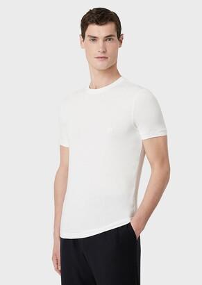 Giorgio Armani Stretch Viscose Bamboo Jersey T-Shirt With Ga Embroidery