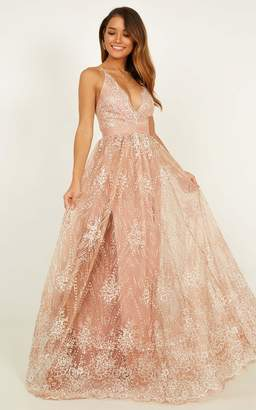 Showpo Her Crystal Eyes maxi dress in rose gold glitter - 8 (S) Formal