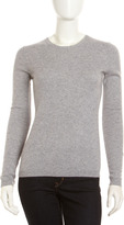 Cashmere Crewneck Long-Sleeve Sweater, Gray