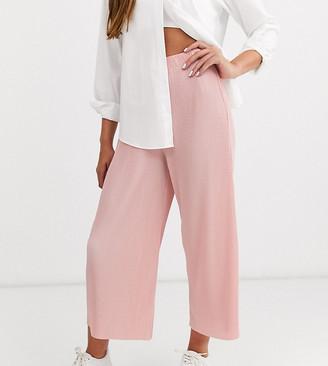 Asos DESIGN Petite plisse culotte trousers-Pink