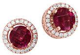 Effy Bordeaux Rhodolite, Diamond and 14K Rose Gold Stud Earrings