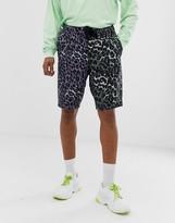Asos Design DESIGN denim basketball shorts in multi leopard print