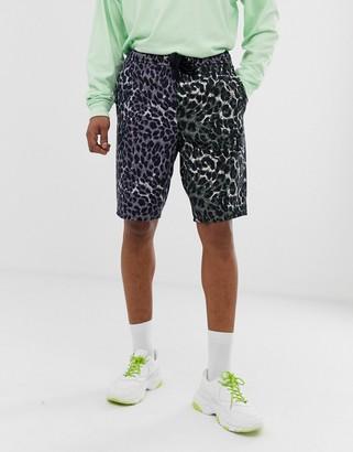 Asos DESIGN denim basketball shorts in multi leopard print