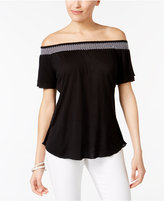NY Collection Petite Smocked Off-The-Shoulder Top