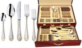 PromasterGifts 'Seashell' 72-Piece Premium Surgical Stainless Steel Silverware Flatware Set 18/10, Service for 12, 24K -Plated Hostess Serving Set in a Case by PromasterGifts