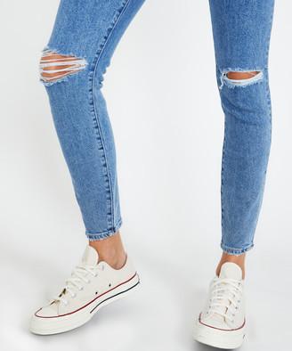 Lee High Licks Crop Worn Jeans Beauty Blue