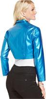 Monroe Marilyn Juniors' Metallic Cropped Moto Jacket