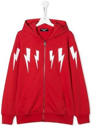 Neil Barrett Kids TEEN lightning bolt hoodie
