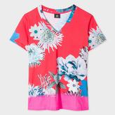 Paul Smith Women's Red 'Ocean Floral' V-Neck Cotton T-Shirt
