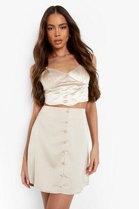 boohoo Button Front Satin Mini Skirt